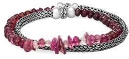 John Hardy Classic Chain Silver, Pink Tourmaline, Pink Garnet& Purple Garnet Double Wrap Bracelet
