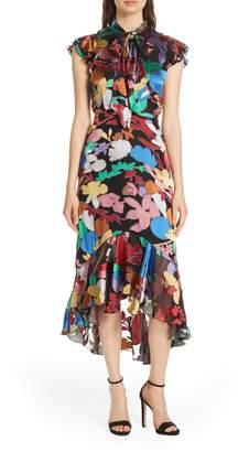 Alice + Olivia Lessie Tie Neck Ruffle Dress