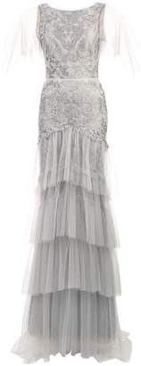 Marchesa flutter sleeve metallic embroidered gown