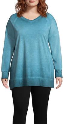 ST. JOHN'S BAY SJB ACTIVE Active Garment Wash Sweatshirt - Plus