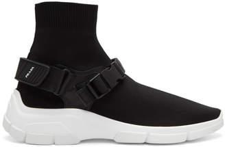 Prada Black Buckled Knit Sock Sneakers