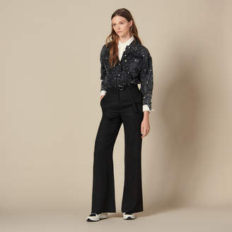 Sandro High-Waisted Wide-Leg Trousers