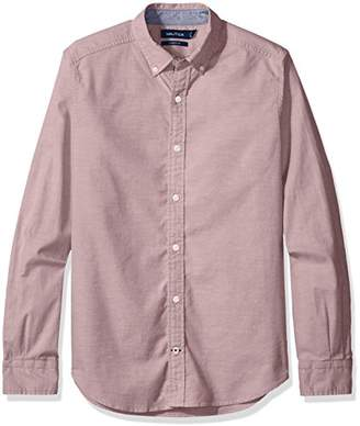 Nautica Men's Long Sleeve Button Down Solid Stretch Oxford Shirt