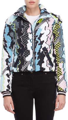 Versace Beach Leopard Printed Puffer Jacket