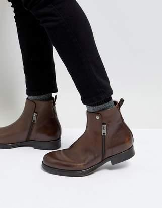 Diesel Brown Leather Zip Chelsea Boots