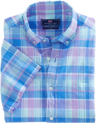Vineyard Vines Short-Sleeve Lagoon Pond Plaid Classic Murray Shirt