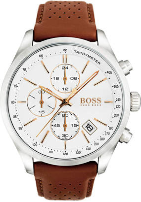 BOSS Hugo Men's Chronograph Grand Prix Brown Leather Strap Watch 44mm 1513475