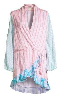 Rococo Sand Women's Plaid Short Wrap Dress - Pink - Size Large