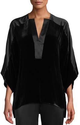 Elie Tahari Nolia Silk-Blend Velvet Blouse