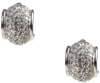 Swarovski Silver Tone Pave Crystal Clip On Huggie Earrings $75 thestylecure.com