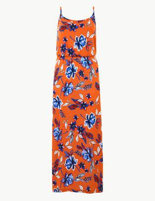 M&S Collection Pure Cotton Floral Print Slip Maxi Dress