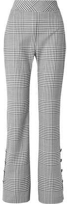 Lela Rose Checked Wool Wide-leg Pants - Black