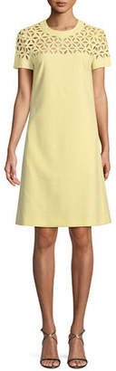 Escada Broderie Anglaise Short-Sleeve A-Line Dress