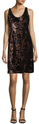 Milly Cora Sleeveless Sequined Velvet Cocktail Minidress