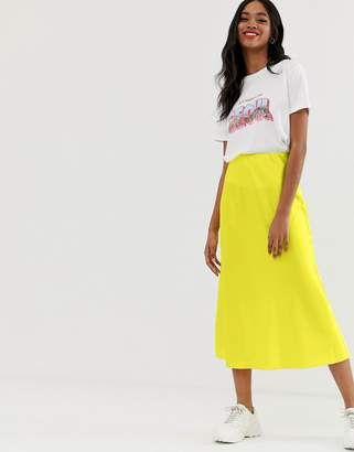 New Look satin midi skirt in bright yellow