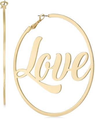 Thalia Sodi Gold-Tone Love Hoop Earrings