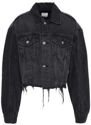 Ksubi Cropped Appliqued Frayed Denim Jacket