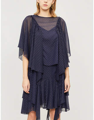 See by Chloe Ladies Evening Blue Draped Metallic Polka Dot Chiffon Top