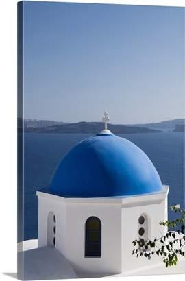 Santorini Canvas On Demand Richard Maschmeyer Premium Thick-Wrap Canvas Wall Art Print entitled Greece, Santorini, Oia, Architectural Detail Of Greek Orthodox Church