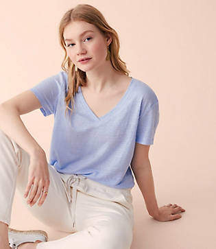 Lou & Grey Linen V-Neck Tee