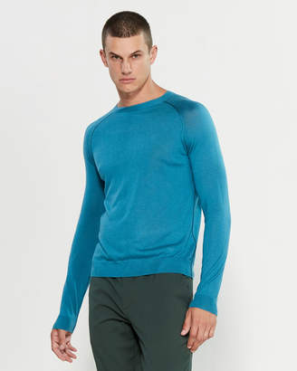 Emporio Armani Turquoise Long Sleeve Silk-Blend Sweater