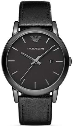 Emporio Armani Three Hand Black Leather Watch, 41 mm