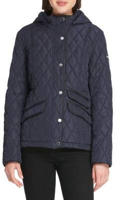 Donna Karan Quilted Hooded Slim-Fit Jacket