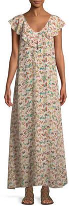 Zadig & Voltaire Reen Butterfly-Print Ruffle Maxi Dress