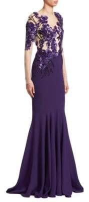 Pamella Roland Amethyst Stretch Crepe 3D Floral Applique Gown