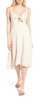 Women's Astr The Label Tie Front Midi Dress $75 thestylecure.com