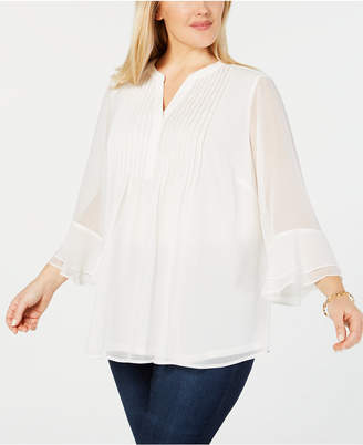 Charter Club Plus Size Double Ruffle Solid Pintuck Top