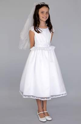 Us Angels Lace Peplum Organza Dress