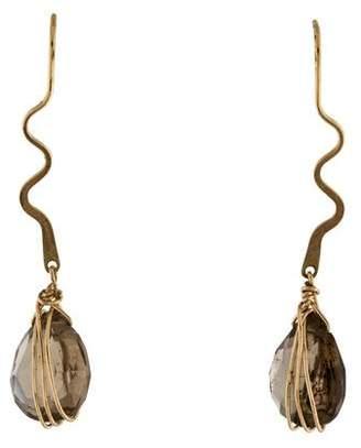 Wire Wrapped Quartz Drop Earrings
