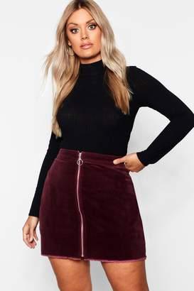 boohoo Plus O Ring Zip Cord Mini Skirt