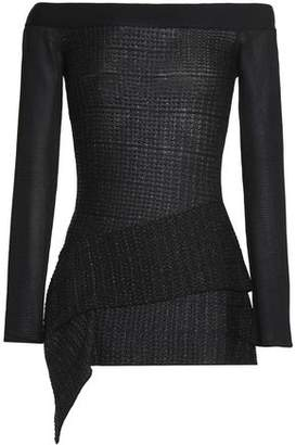 Roland Mouret Off-the-shoulder Metallic Knitted Top