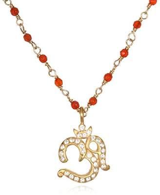 Satya Jewelry Women's Carnelian Gold Om Pendant Necklace 18-Inch