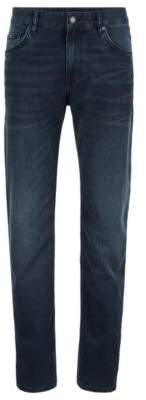 BOSS Relaxed-fit jeans in blue-black Italian stretch denim
