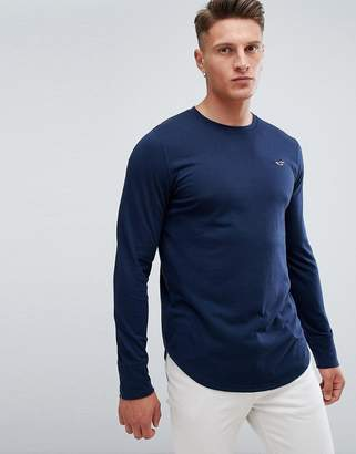 Hollister Seagull Logo Long Sleeve Top in Navy