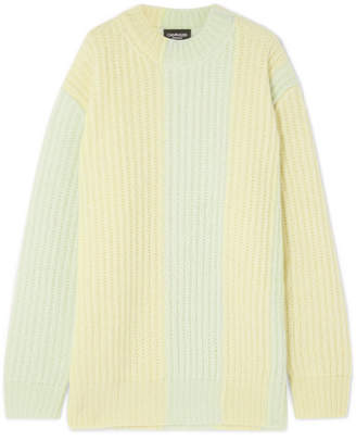 Calvin Klein Striped Ribbed Mohair-blend Sweater - Yellow
