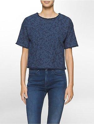 Calvin KleinCalvin Klein Womens Frayed Denim T-Shirt