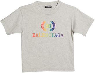 Balenciaga Short-Sleeve Rainbow Logo Crest T-Shirt, Size 2-10