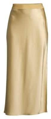 Theory Women's Sateen Midi Slip Skirt - Beige Clay - Size XS
