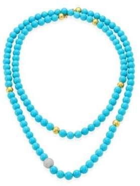 "Gurhan Amulet Hue Diamond, Turquoise& 22-24K Yellow Gold Strand Necklace/50"""