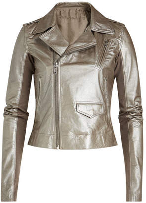 Rick Owens Metallic Leather Jacket with Virgin Wool Sleeves