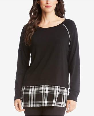 Karen Kane Plaid-Hem Layered-Look Sweater