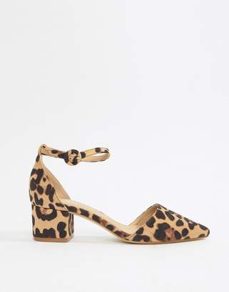 Raid Julia leopard print ankle strap black mid block heeled shoes