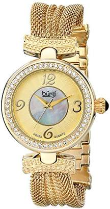 Burgi Women's BUR110YG Crystal Accented Yellow Gold Swiss Quartz Watch with White and Mother of Pearl Dial and Yellow Gold Bracelet