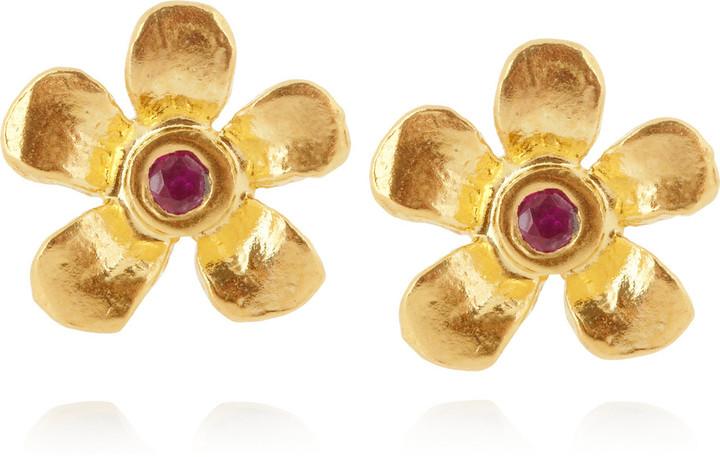 Alex Monroe Flower 22-karat gold-plated ruby earrings