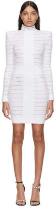 Balmain White Medical Stripe High Neck Dress
