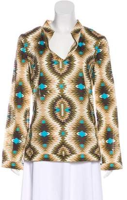 Tory Burch Printed Long Sleeve Top